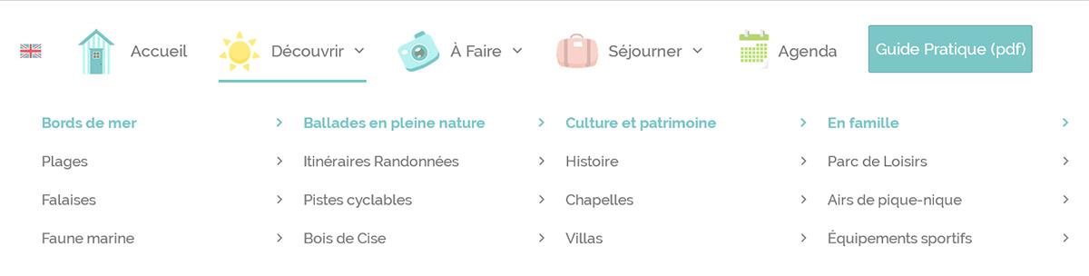mega menu decouvrir site office tourisme